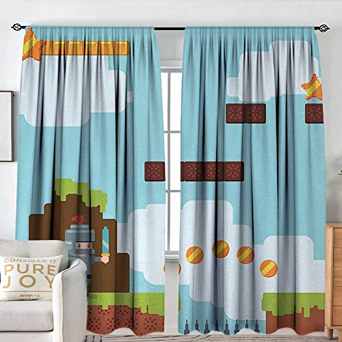 Petpany Kitchen Curtains Video Games,Arcade World Kids 90s Fun Theme Knight with Fireball Bonus Stars Coins Image,Multicolor,Rod Pocket Curtains for Big Windows 120