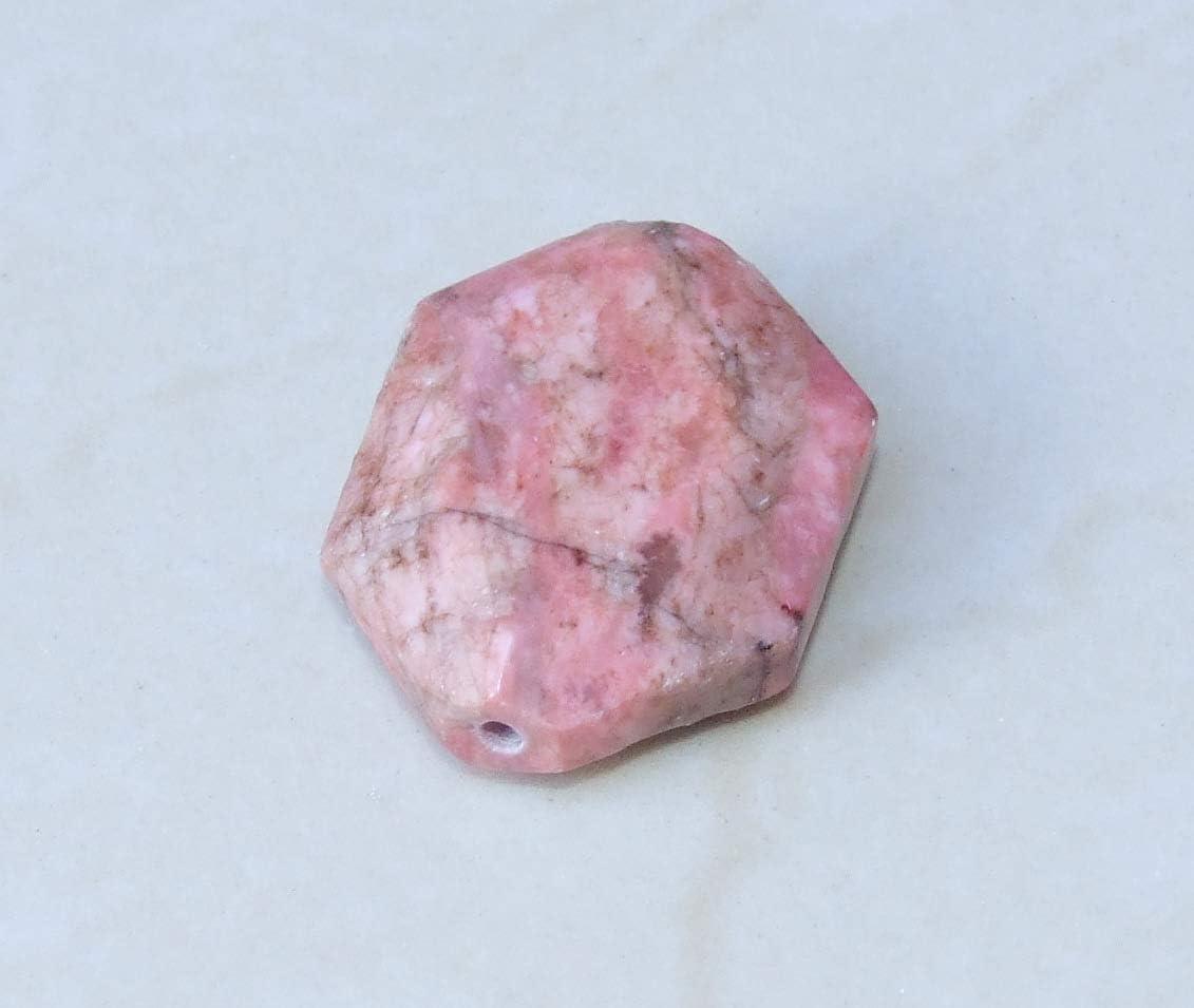 ORTIZ quality semi-precious stone Reflections Natural RHODOCHROSITE pendant sequins