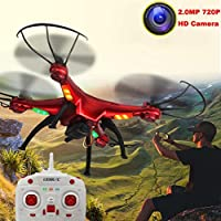 AMA(TM) LiDiRC L15W 4CH HD Camera WiFi FPV 2.4G 6-axis Gyro RC Quadcopter Altitude Hold (Red)