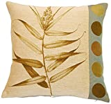 Corona Decor French Woven Jacquard Feather and Down Filled Fern and Dot Decorative Pillow