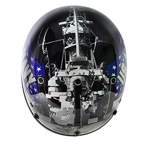 Outlaw T70 Glossy Motorcycle Half Helmet with Officially Licensed U.S. Navy Graphics - 2X-Large - Dot Outlaw Gloss