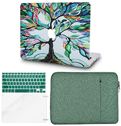 KECC Laptop Case for MacBook Pro 13″ (2020/2019/2018/2017/2016,Touch Bar) w/Keyboard Cover + Sleeve + Screen Protector (4 in 1 Bundle) Hard Shell A2159/A1989/A1706/A1708 (Colorful Tree)
