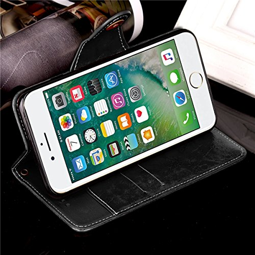 iPhone 6 / iPhone 6s 4.7 inch Case Cover LifeePro [Anti-Scratch] Retro Business Leather Wallet Case Flip Stand Full Body Protection Cover with Lanyard for iPhone 6 / iPhone 6s 4.7 inch Black