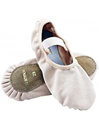 s.lemon Elasticated Canvas Full Sole Ballet Dance Shoes Slippers Flats Pumps for Baby Girls Kids Toddlers Pink