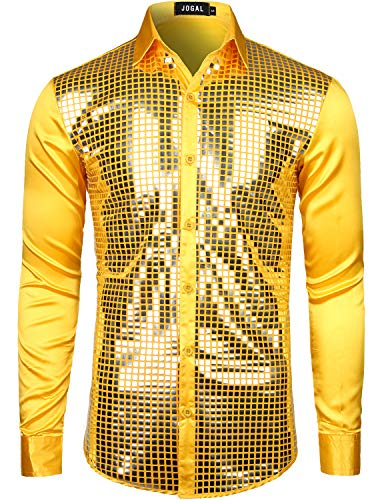 JOGAL Mens Dress Shirt Silver Sequins Long Sleeve Button Down 70s Disco Shirt Party Costume XX-Large A348 Yellow -