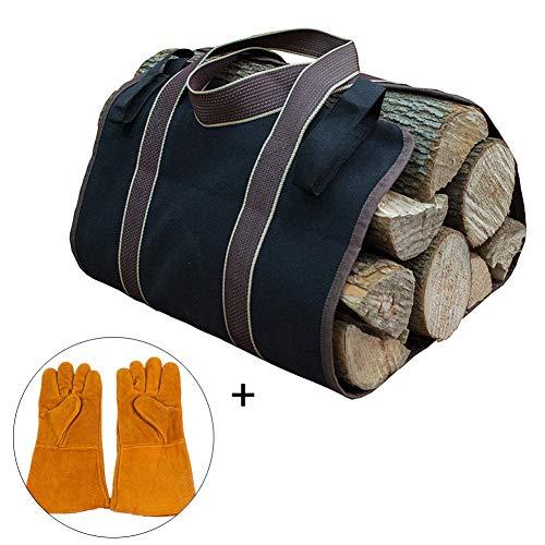 Bolsa de transporte de troncos de lona, bolsa de madera encerada resistente, accesorios para estufa de chimenea, soporte...