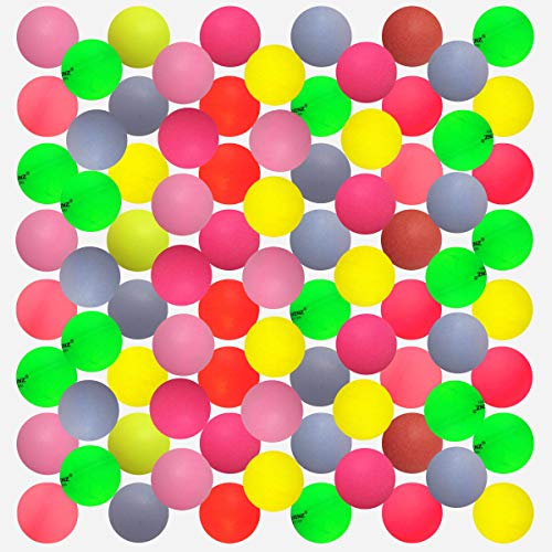 KEVENZ 50-Pack 40mm Beer Ping-Pong Multipul Color Balls,Washable Plastic Glow in The Dark, Plastic Table Tennis Ball ()