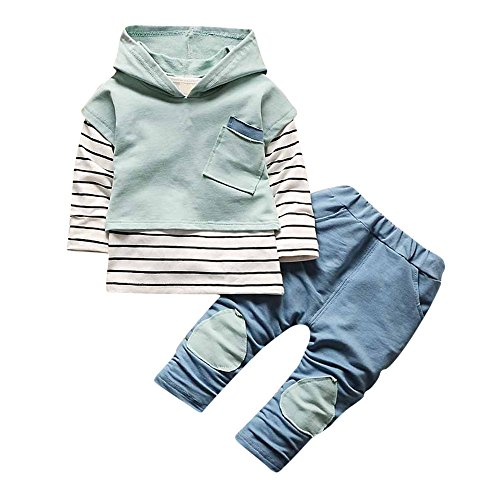 Kehen 2pcs Kids Autumn Outfits Set Stripes Long Sleeve Cotton Hoodies Tops + Elastic Long Pants (#2 Green, 18-24 Months)