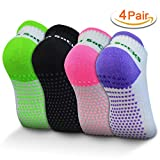 Rbenxia 4 Pair Silicone Dot Cotton Non Slip Skid Yoga Pilates Socks with Grips Cotton for Women Full Toe Low Cut Non Skid Barre Socks for Studio Hospital Sports Fitness Training One Size