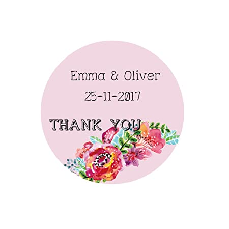 Ekunstreet 48x personalised 40mm round wedding favour stickerswedding floral labels invitation envelopes