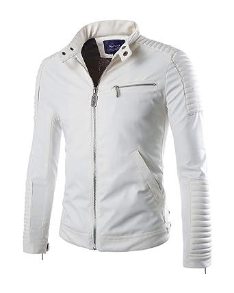 Homme Blouson Cuir Veste en Cuir Manteaux Veste Simili Cuir Blouson Cuir  Moto Blanc XS 13d89817831