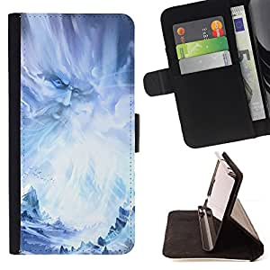 BullDog Case - FOR/HTC One M7 / - / god fairy wizzard fairytale blue ice snow /- Monedero de cuero de la PU Llevar cubierta de la caja con el ID Credit Card Slots Flip funda de cuer