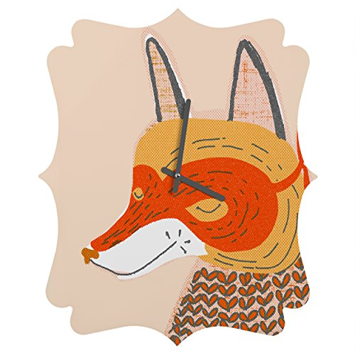Deny Designs  Mummysam, Mr.Fox, Quatrefoil Clock, Medium by Deny Designs