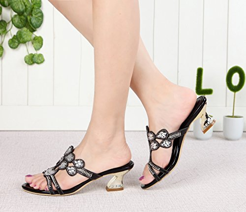 Black Women's Chunky Crystals Honeystore Shoes Rhinestones Shining Heel Sandals 8vq84Fw