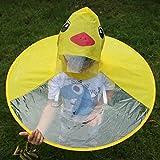 Rowentauk Children Raincoat,Cute Yellow Duck UFO Shape Rain Hat Cape Umbrella Foldable for Kids