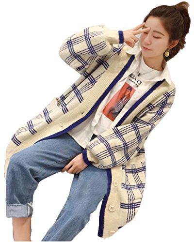AIJUAN レディース 春服 カーディガン ニット セーター Vネック 無地 ゆったり 通勤 チェック柄 怠惰な風 コート ブルゾン オーバー カジュアル シンプル 淑やか 学生 トップス 格子 森ガール ロング ファッション