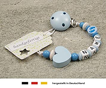 Personalised Baby DUMMY CLIP Pacifier Holder with preffered name boys motif blue locomotive Beststeller from Germany
