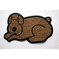 Geo Crafts Rubber Back Shaped Dog-Flat Weave Doormat