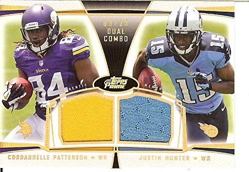 2013 National Treasures Rookie NFL Gear Combo Player Materials Prime #27 Cordarrelle Patterson/Justin Hunter RC Rookie MEM 9/25 from National Treasures