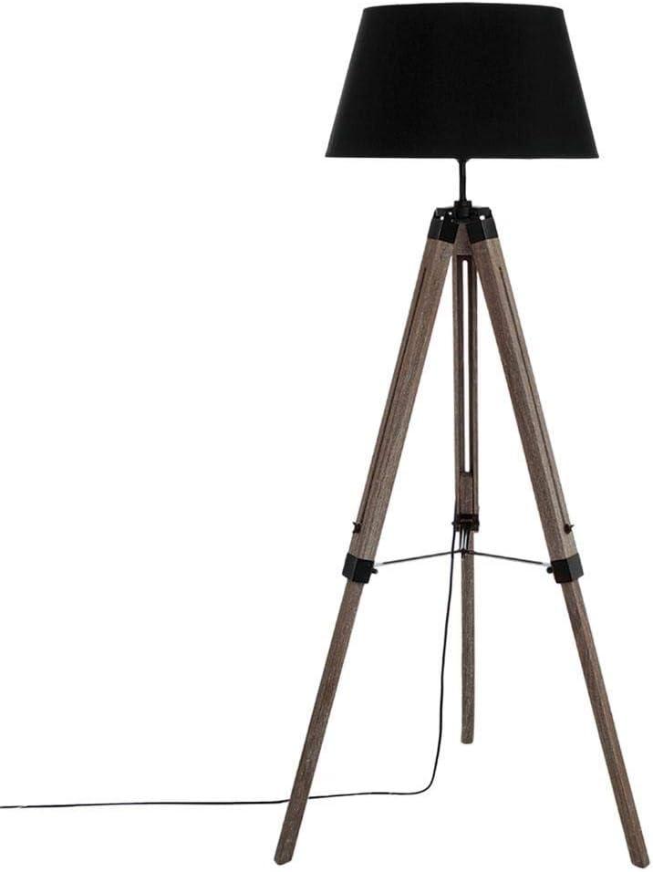 Atmosphera - Lámpara de pie, estilo industrial, madera, diseño de trípode, color negro: Amazon.es: Hogar