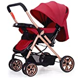 QXMEI Can Lie And Fold Two-way Four-wheel Shock Absorbers Baby Stroller Folding Adjustable Stroller,Burgundy