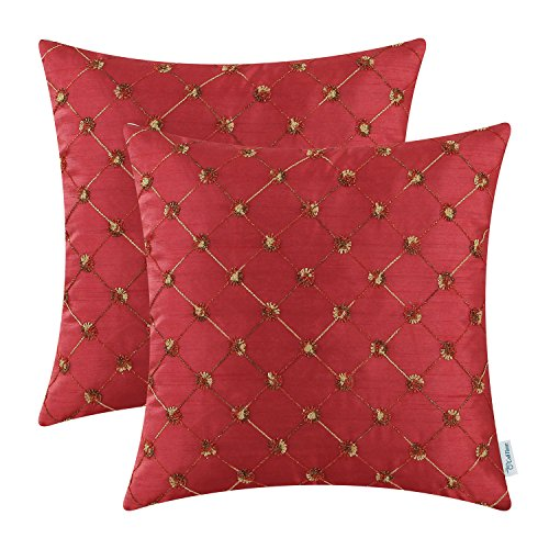 Pack of 2 CaliTime Cushion Covers Throw Pillow Cases Shells for Home Sofa Couch 18 X 18 Inches, Modern Diamonds Shape Geometric Chain Embroidered, Deep (Plaid Toss Pillow)