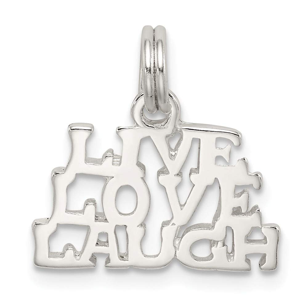 18mm x 18mm Love Jewel Tie 925 Sterling Silver Heart Polished Live Laugh Pendant Charm
