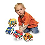 Melissa & Doug Ks Kids Pull-Back Vehicle Set - Soft Baby Toy Set With 4 Cars and Trucks and Carrying Case