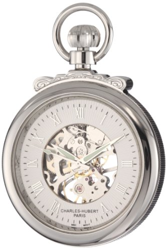 - Charles-Hubert, Paris 3903-W Classic Collection Open Face Mechanical Pocket Watch