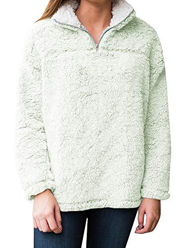 YOMISOY Womens Long Sleeve Sweatshirt Casual Fleece 1/4 Zip Sherpa Pullovers Tops Green - Sherpa Green