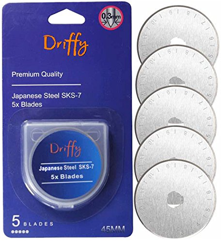 Driffy Rotary Cutter Blades 45mm 5-Pack Compatible, Fiskars, Olfa Blades, Truecut, Clover and Dafa. Suits a Cutting Mat. Quilting Accessories and Craft Supplies.