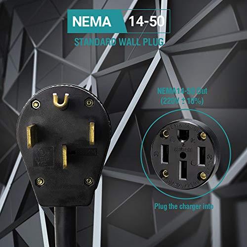 Morec 32 Amp EV Charger Level 2, NEMA14-50 26ft 220V-240V Upgraded Portable EV charging cable Station, Electric vehicle charger Compatible with All EV Cars. by Morec (Image #4)