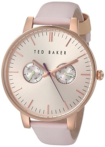 Ted Baker Women's'Sport' Quartz Stainless Steel and Leather Dress Watch, Color:Pink (Model: 10030747)