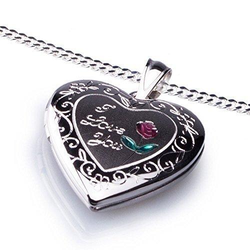 Anh ä nger Medaillon Herz I Love You zum  ö ffnen 925  - Sterling Silber 19  ... b4fc54a5d2