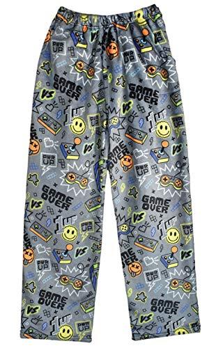 iscream Big Boys Fun Print Silky Soft Plush Pants - Game Over, Medium (10/12)