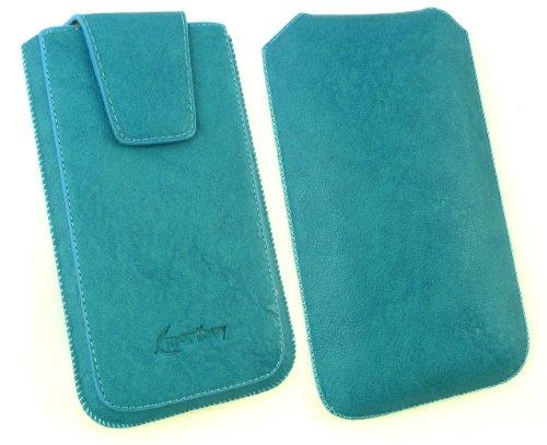 Emartbuy® Sparkling Stylus Pack Para Samsung Galaxy Grand Lite Classic Gama Azul Pu Lujo Slide Cuero En Sostenedor De La Case Carcasa Funda Caja De La Manga (Talla 4Xl) Con Solapa Magnética Y Tire Mec
