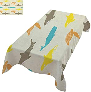 """Sea Animals Pink Rectangular Tablecloth Pattern with Whale Shark and Turtle Aquarium Doodle Style Marine Life Wild Long Tablecloth 60""""x120"""" Ivory Taupe Peach"""