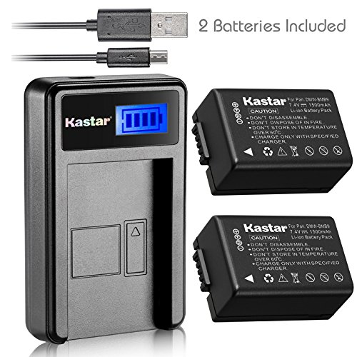 Kastar Battery X2 + LCD USB Charger for Panasonic DMW-BMB9 DMW-BMB9E DMW-BMB9PP & Lumix DMC-FZ40 DMC-FZ45 DMC-FZ47 DMC-FZ48 DMC-FZ60 DMC-FZ62 DMC-FZ70 DMC-FZ72 DMC-FZ100 DMC-FZ150 Leica V-Lux2 V-Lux3 by Kastar
