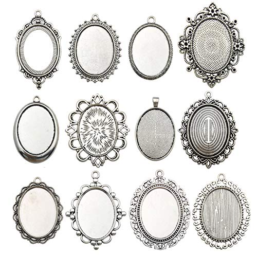 Youdiyla 10 Pendant Trays, 30x40mm, Blank Oval Cabochons Base Setting Bezel Frame Metal Cameo for Photo Pendant Jewelry Making (Antique Silver-HM278) ()