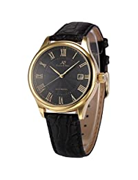 KS KS242 Men's Automatic Mechanical Watch Analog Date Display Black Leather Band