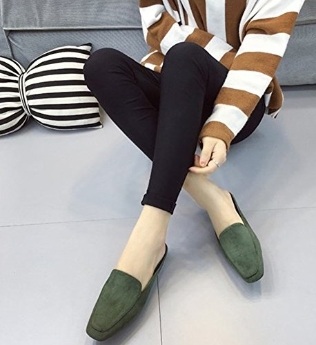 Summer QZUnique Green Thick Autumn Suede Half Horseshoe for Slippers Shoes with Square Head Womens Heel C7pxrCU