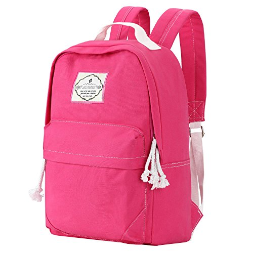 School Backpack,Bagerly Lightweight Canvas Book Bags Shoulder Daypack Laptop Bag [80% OFF with code U6ERHK87] (Candy-pink)