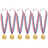 6-Pack Gold Medal Set - Metal Olympic Style Winner Award Medals for Sports, Competitions, Spelling Bees, Party Favors, 2.5 Inches in Diameter with 32-Inch Ribbon