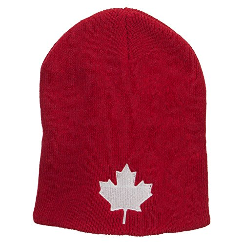 Canada Maple Leaf Embroidered ECO Cotton Beanie - Red OSFM