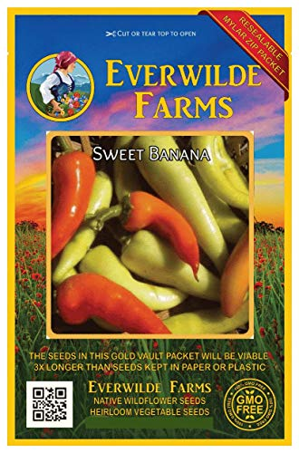 Everwilde Farms - 50 Sweet Banana Sweet Pepper Seeds - Gold Vault Jumbo Seed Packet