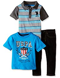 U.S. Polo Assn. Boys' 3 Piece Short Sleeve Polo Shirt, T- Shirt and Denim Jean
