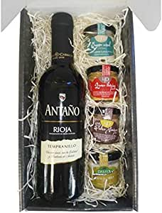 Cesta Gourmet Deliex con Vino Rioja Antaño de 37,5 cl, 2 patés de Lomo Ibérico 30 g y Paté al Pedro Ximénez 30 g, 2 Cremas de Queso de Cabra Deliex y