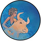 Printing Round Rug,Taurus,Bull and Muse Spiritual Beauty Spring Season Elegance Horoscope Motif Decorative Mat Non-Slip Soft Entrance Mat Door Floor Rug Area Rug For Chair Living Room,Violet Blue Sand