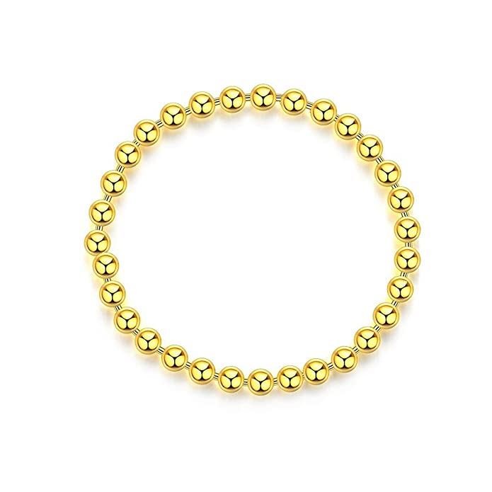 Sterling Silver Soft Ball Chain Ring Stacking Rings 14K Gold Plating