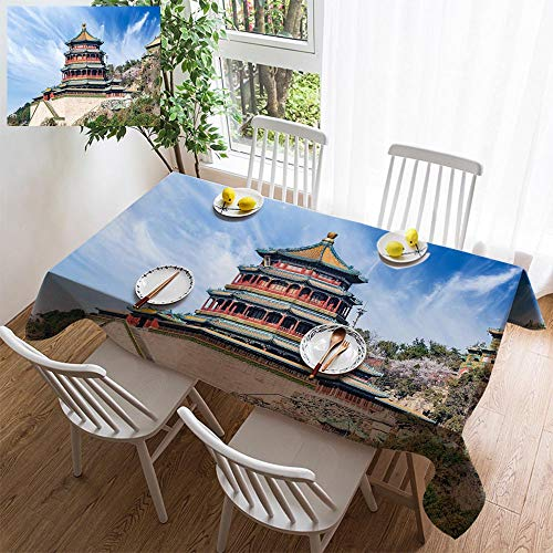 HOOMORE Simple Color Cotton Linen Tablecloth,Washable, Beijing Summer Palace Landscape Chinese Qing Dynasty Imperial Garden Decorating Restaurant - Kitchen School Coffee Shop Rectangular 72×54in ()